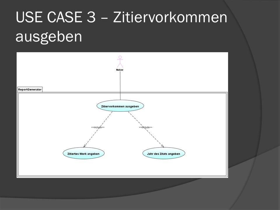 USE CASE 3 – Zitiervorkommen ausgeben