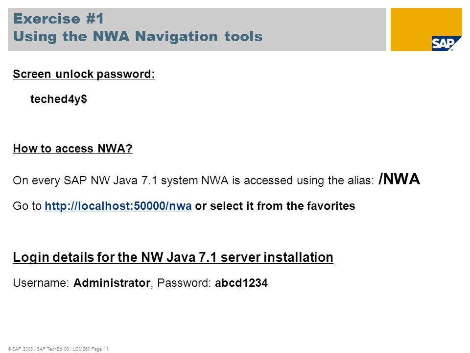 Exercise #1 Using the NWA Navigation tools