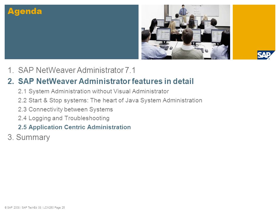 Agenda SAP NetWeaver Administrator 7.1