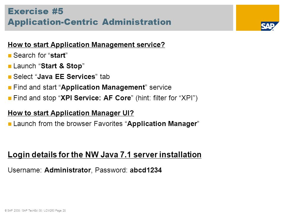 Exercise #5 Application-Centric Administration