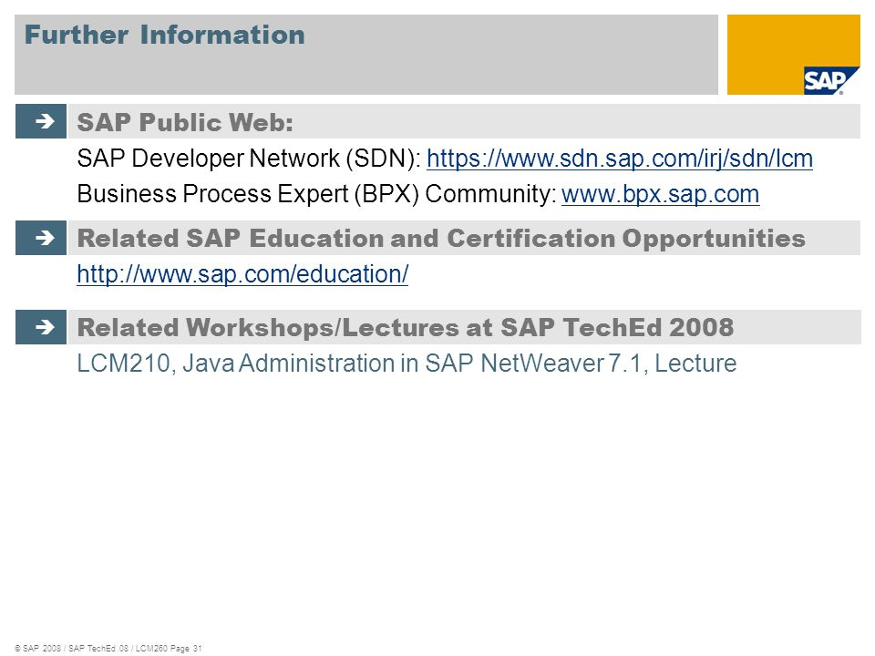 Further Information SAP Public Web: