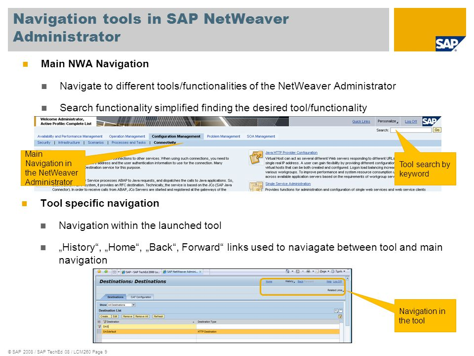 Navigation tools in SAP NetWeaver Administrator