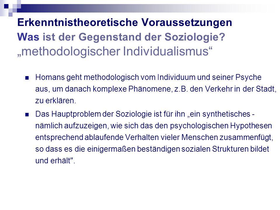 """Erkenntnistheoretische Voraussetzungen Was ist der Gegenstand der Soziologie """"methodologischer Individualismus"""