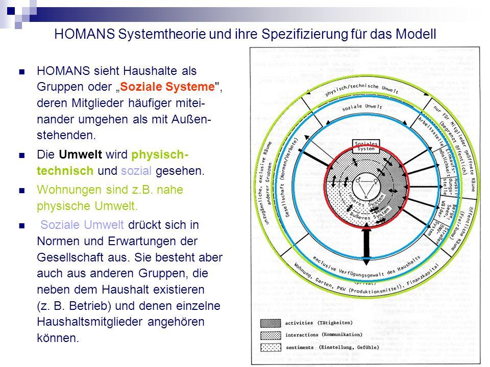 HOMANS Systemtheorie und ihre Spezifizierung für das Modell