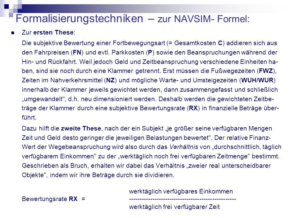 Formalisierungstechniken – zur NAVSIM- Formel: