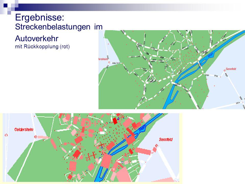 Ergebnisse: Streckenbelastungen im Autoverkehr mit Rückkopplung (rot)