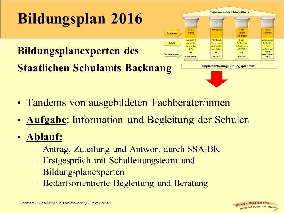 Bildungsplan 2016 Bildungsplanexperten des