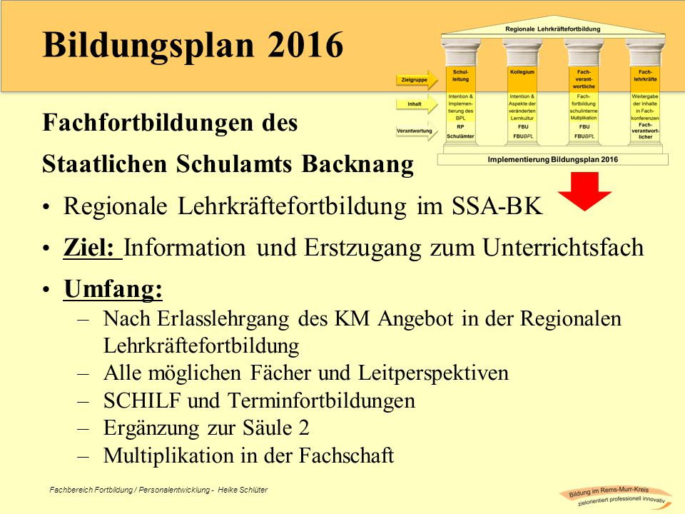 Bildungsplan 2016 Fachfortbildungen des Staatlichen Schulamts Backnang