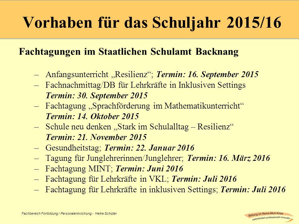 Vorhaben für das Schuljahr 2015/16