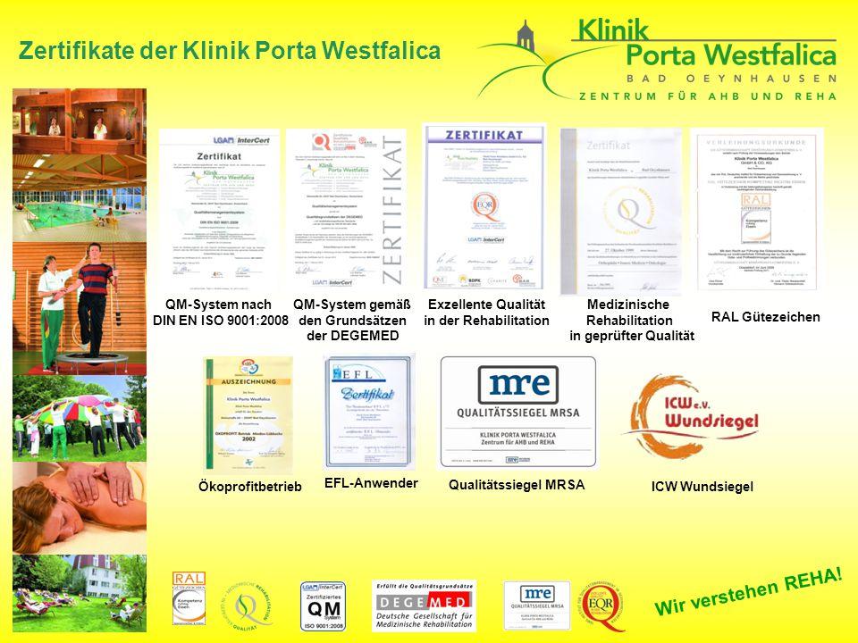 Zertifikate der Klinik Porta Westfalica