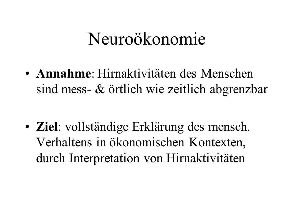 Neuroökonomie Annahme: Hirnaktivitäten des Menschen sind mess- & örtlich wie zeitlich abgrenzbar.
