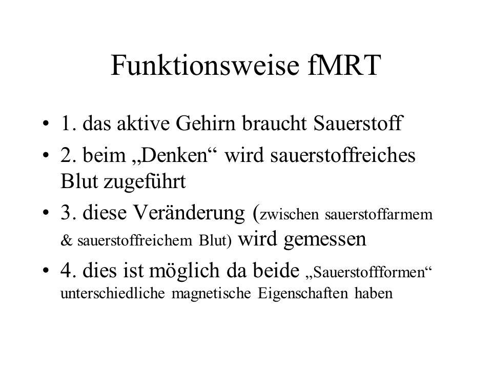 Funktionsweise fMRT 1. das aktive Gehirn braucht Sauerstoff