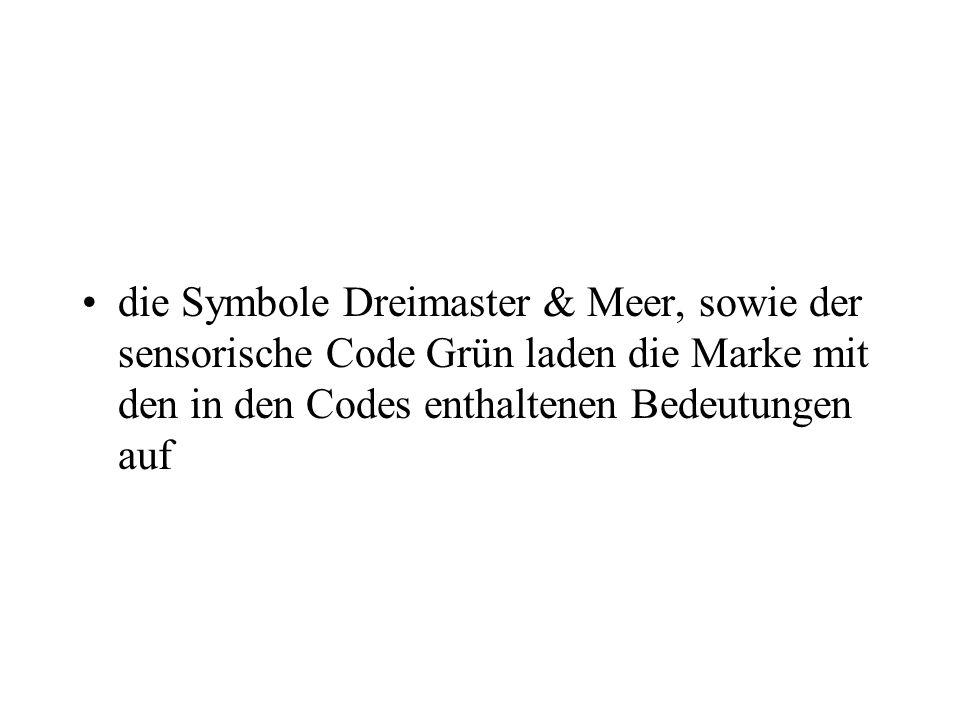 die Symbole Dreimaster & Meer, sowie der sensorische Code Grün laden die Marke mit den in den Codes enthaltenen Bedeutungen auf