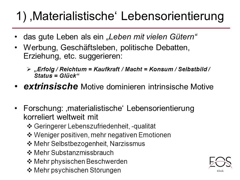 1) 'Materialistische' Lebensorientierung