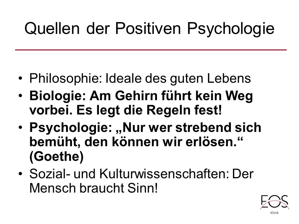 Quellen der Positiven Psychologie