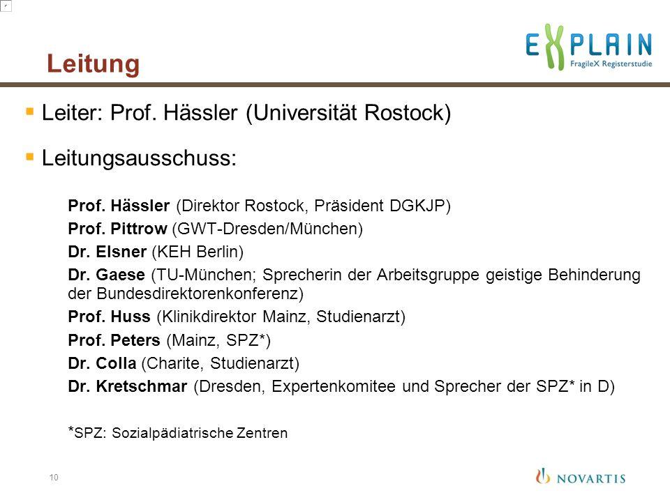 Leitung Leiter: Prof. Hässler (Universität Rostock) Leitungsausschuss: