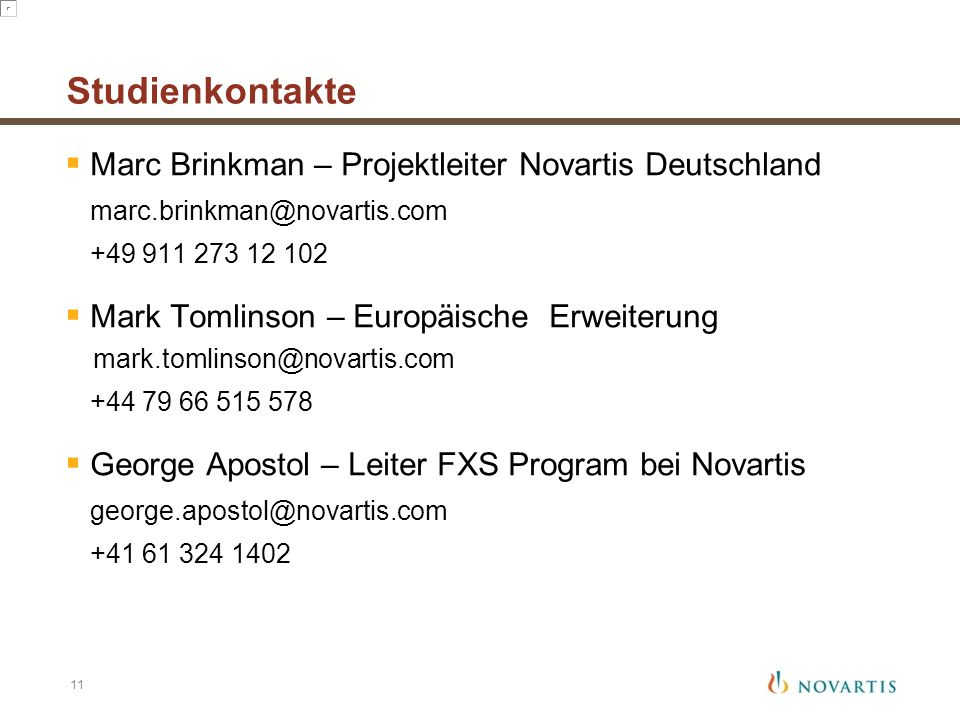 Studienkontakte Marc Brinkman – Projektleiter Novartis Deutschland