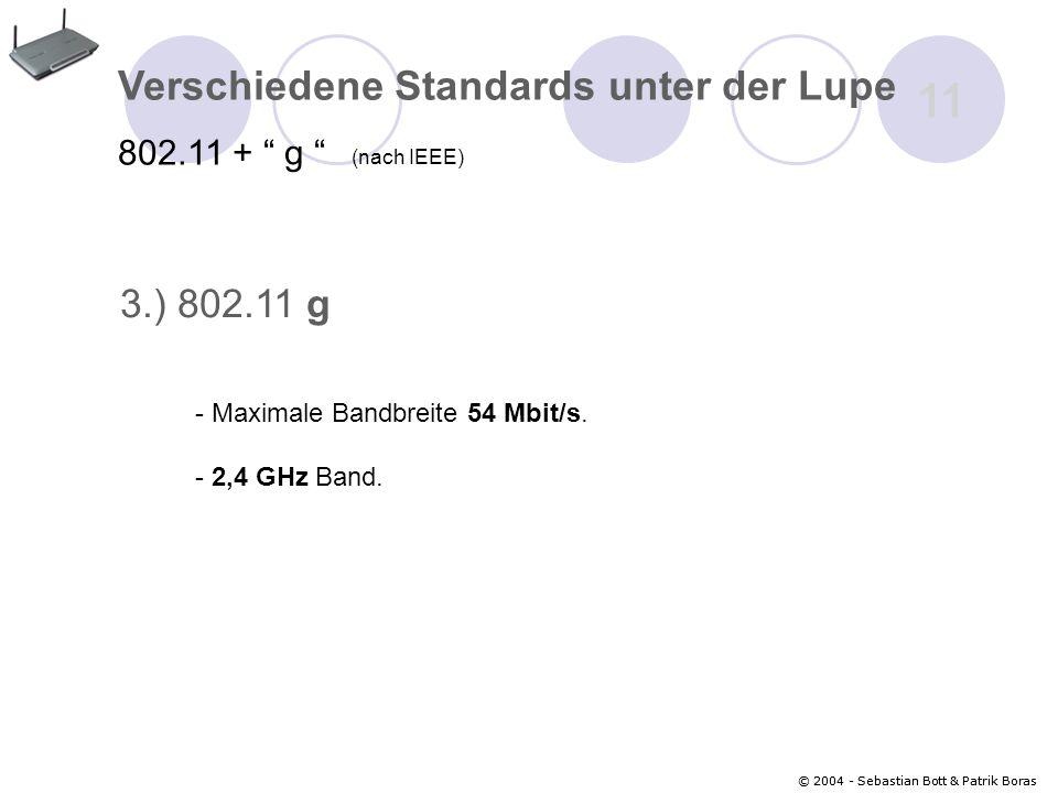 11 Verschiedene Standards unter der Lupe 3.) 802.11 g