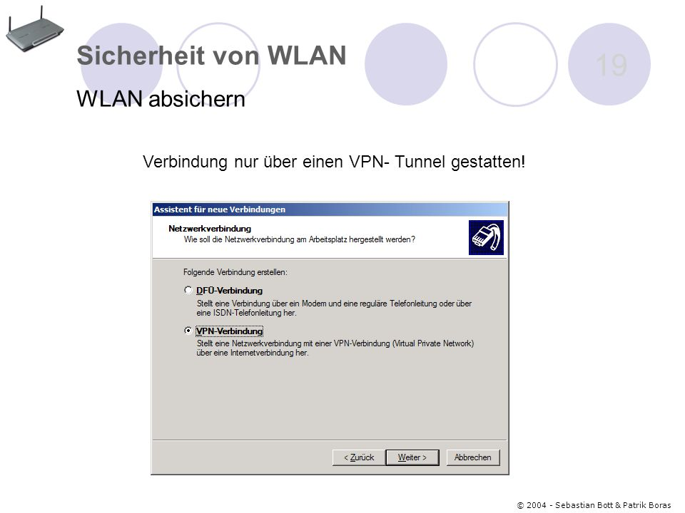 Verbindung nur über einen VPN- Tunnel gestatten!