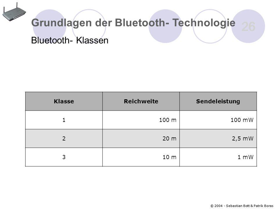 26 Grundlagen der Bluetooth- Technologie Bluetooth- Klassen Klasse