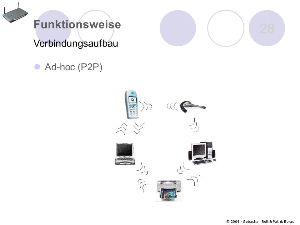 28 Funktionsweise Verbindungsaufbau Ad-hoc (P2P)