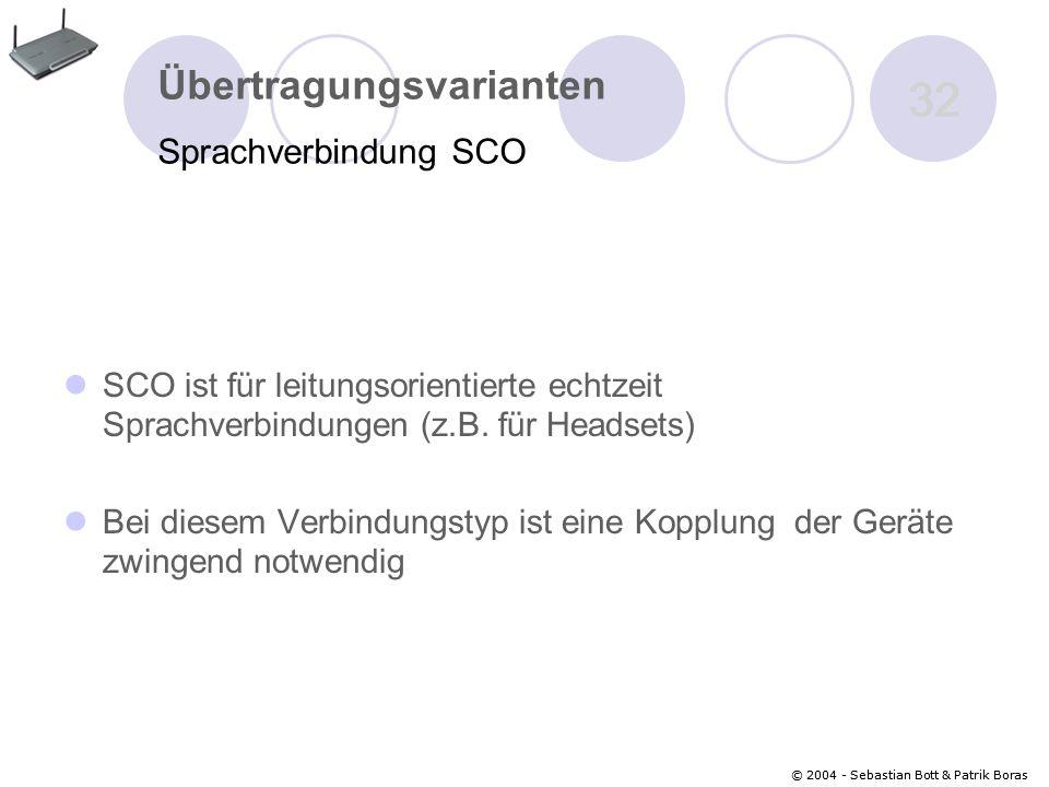 32 Übertragungsvarianten Sprachverbindung SCO