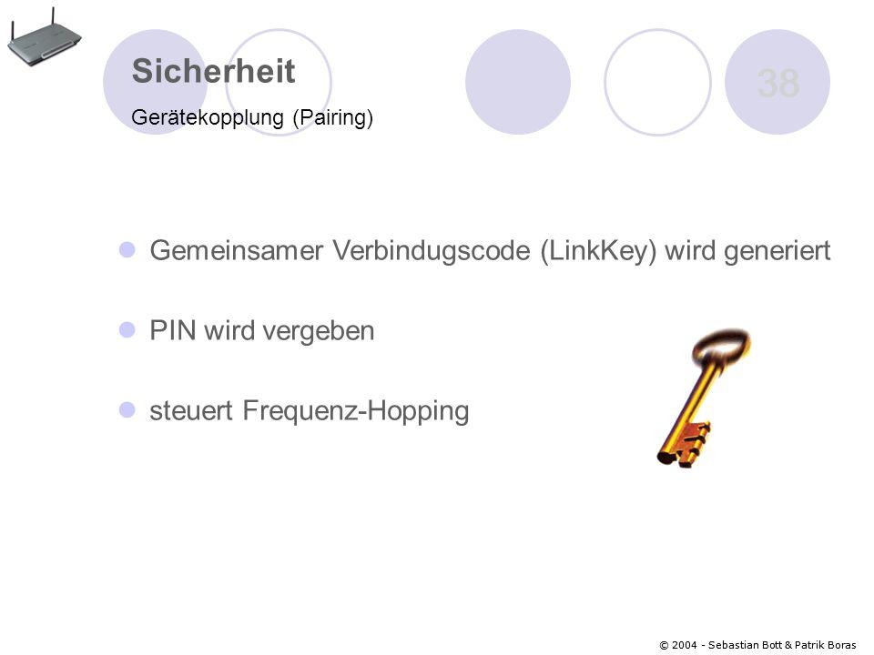 38 Sicherheit Gemeinsamer Verbindugscode (LinkKey) wird generiert