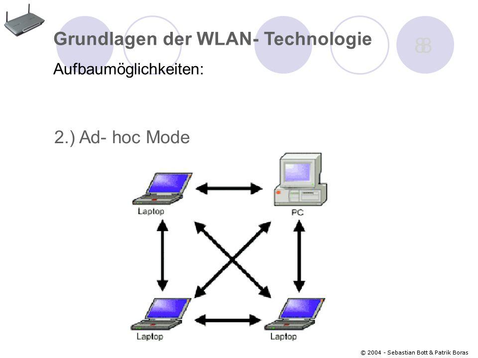 8 Grundlagen der WLAN- Technologie 2.) Ad- hoc Mode