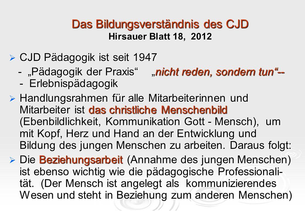 Das Bildungsverständnis des CJD Hirsauer Blatt 18, 2012