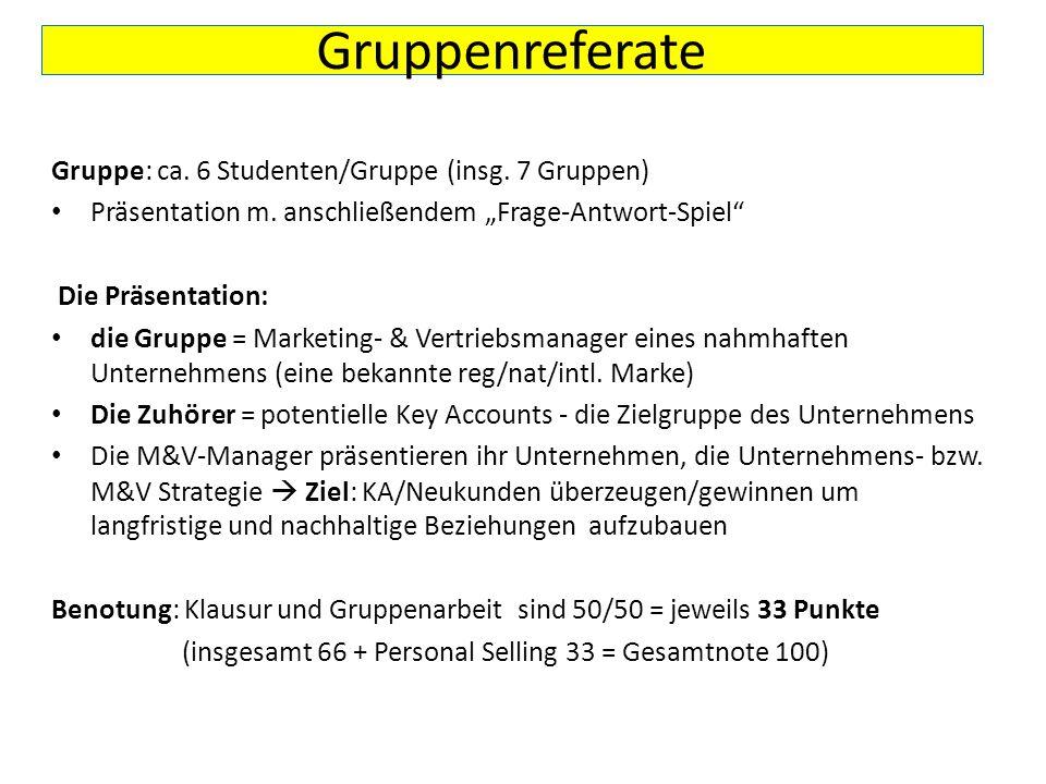 Gruppenreferate Gruppe: ca. 6 Studenten/Gruppe (insg. 7 Gruppen)