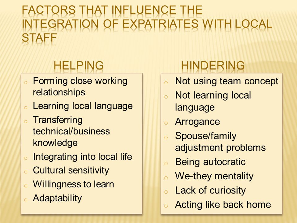 Factors that Influence the Integration of Expatriates with Local Staff
