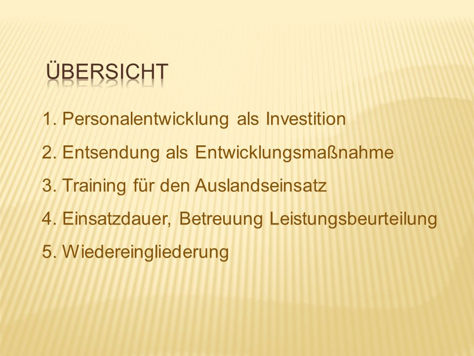 Übersicht 1. Personalentwicklung als Investition