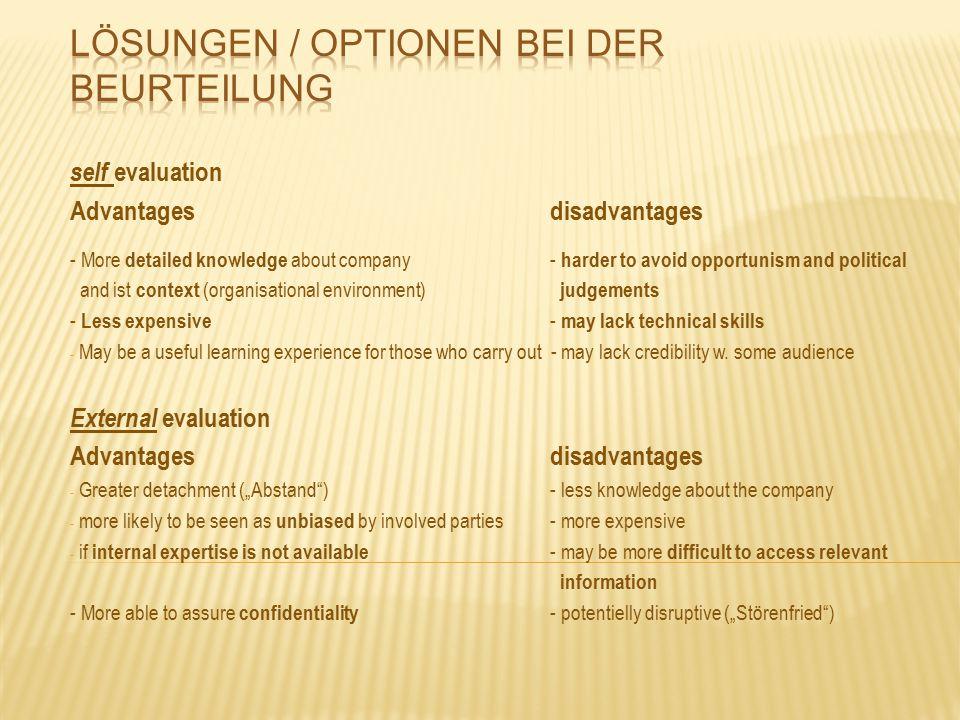 Lösungen / Optionen bei der Beurteilung