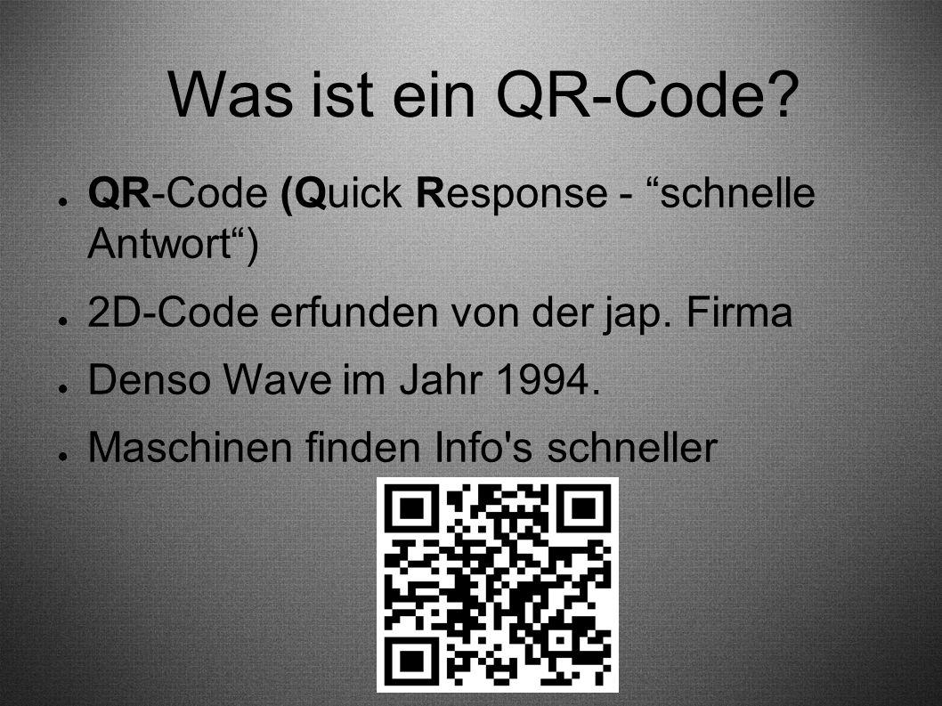 Was ist ein QR-Code QR-Code (Quick Response - schnelle Antwort )