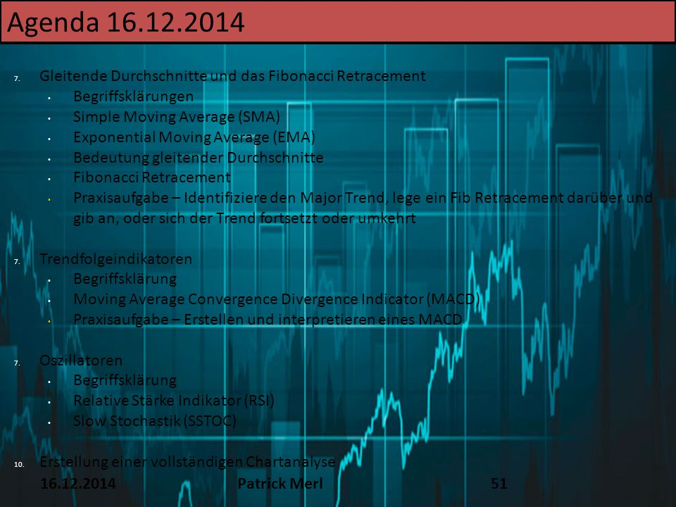 TEXT Agenda 16.12.2014. 16.12.14. Gleitende Durchschnitte und das Fibonacci Retracement. Begriffsklärungen.