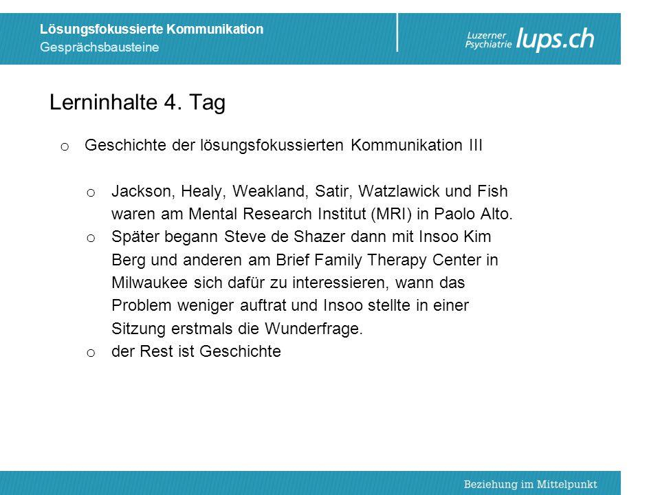Lerninhalte 4. Tag Geschichte der lösungsfokussierten Kommunikation III.