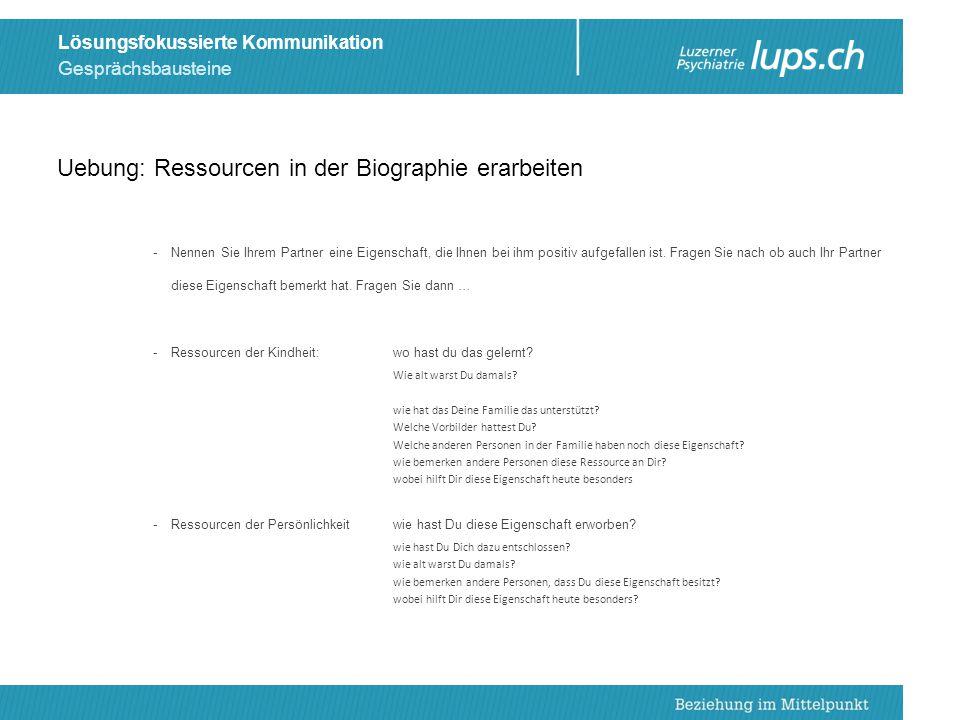 Uebung: Ressourcen in der Biographie erarbeiten