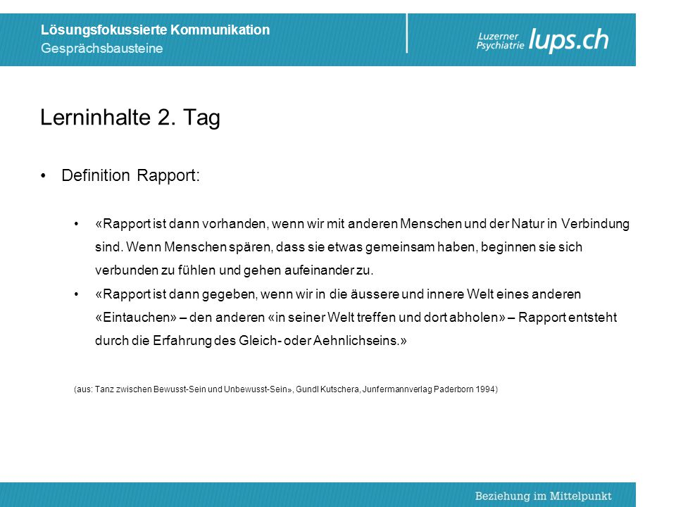Lerninhalte 2. Tag Definition Rapport: