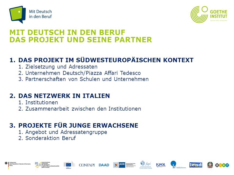Mit Deutsch in den Beruf das Projekt und seine Partner