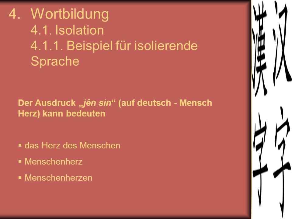 Wortbildung 4.1. Isolation 4.1.1. Beispiel für isolierende Sprache
