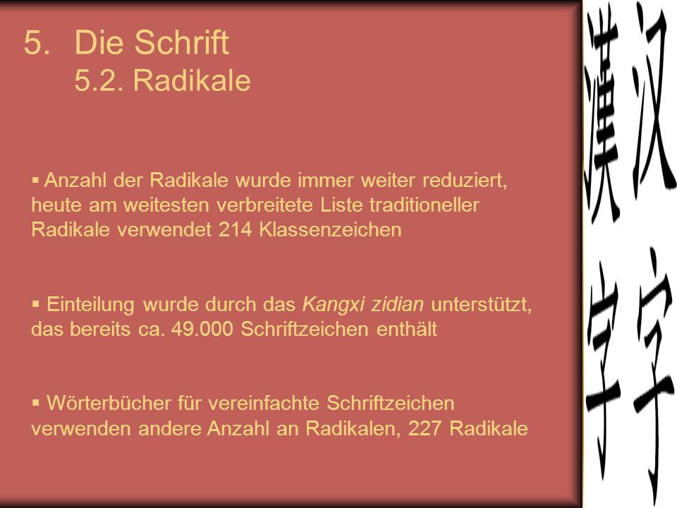 Die Schrift 5.2. Radikale