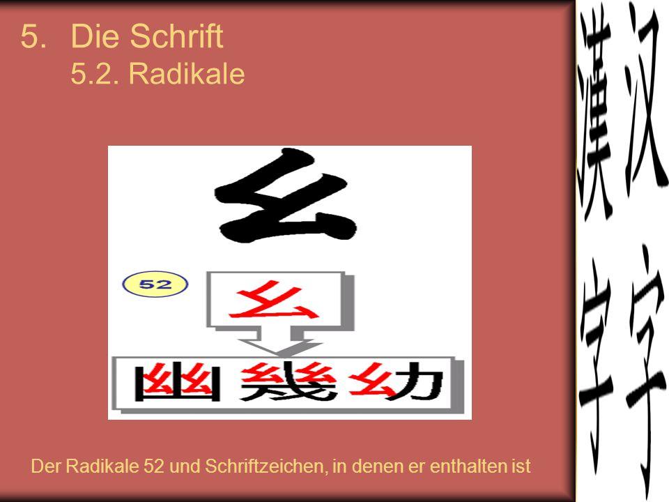 Die Schrift 5.2. Radikale Der Radikale 52 und Schriftzeichen, in denen er enthalten ist