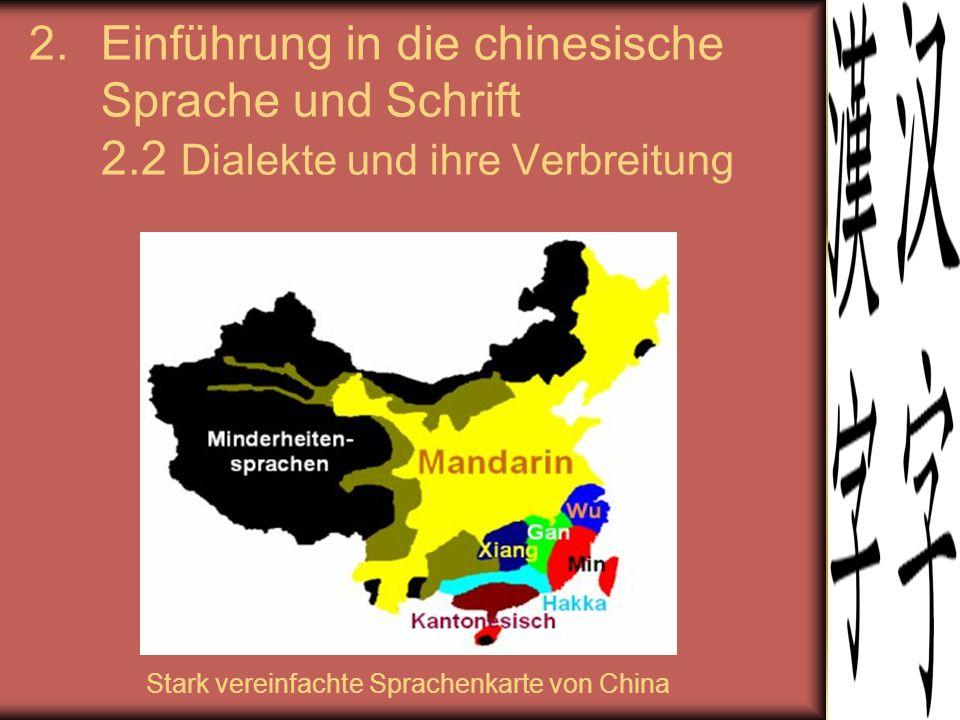 Stark vereinfachte Sprachenkarte von China