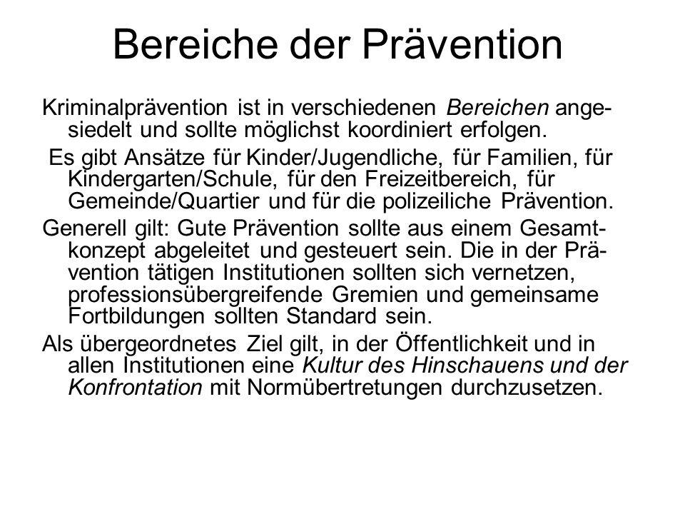 Bereiche der Prävention