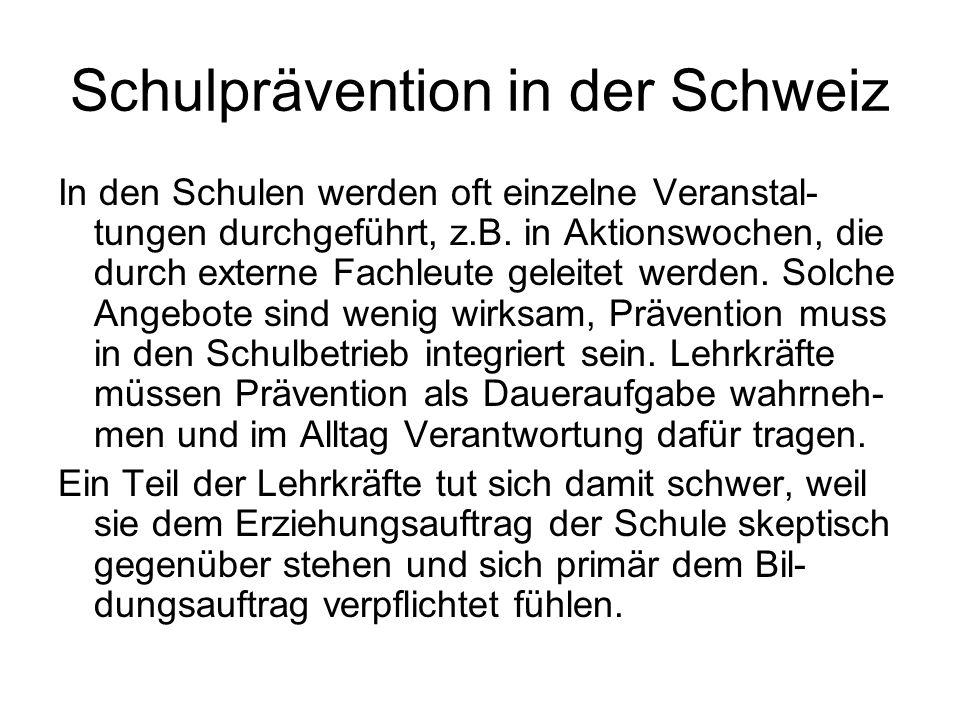 Schulprävention in der Schweiz