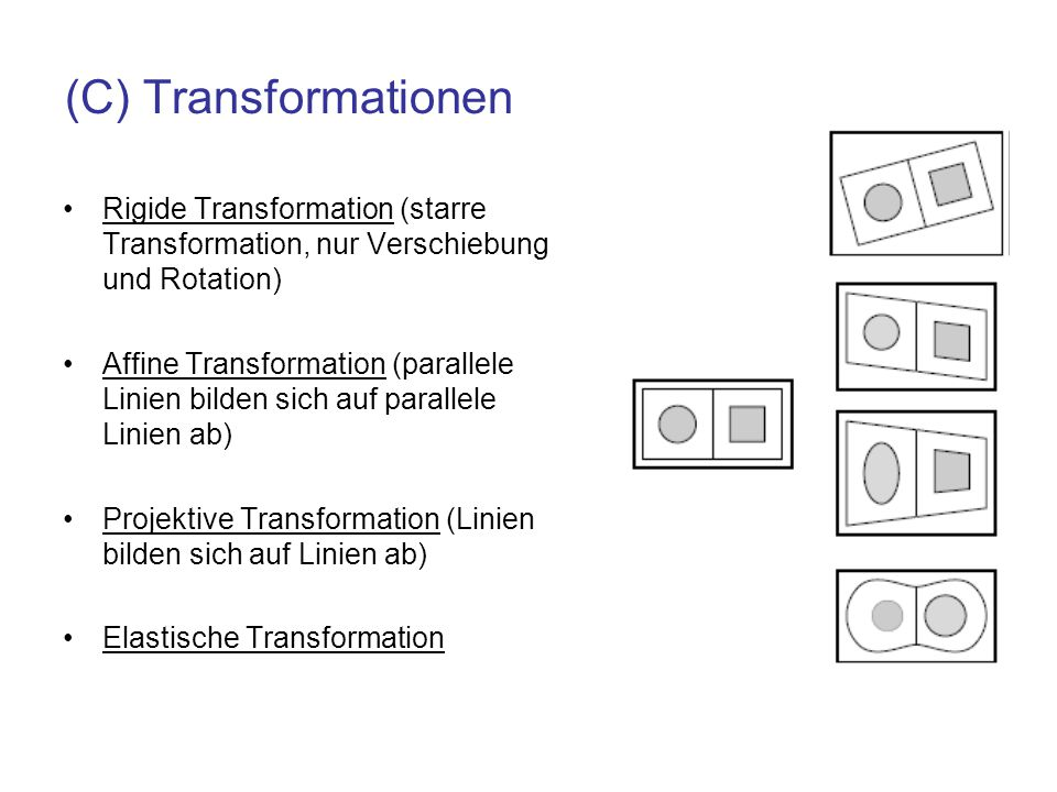 (C) Transformationen Rigide Transformation (starre Transformation, nur Verschiebung und Rotation)