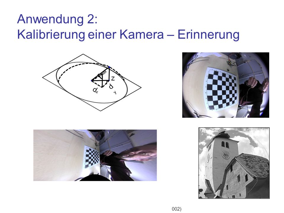 Anwendung 2: Kalibrierung einer Kamera – Erinnerung