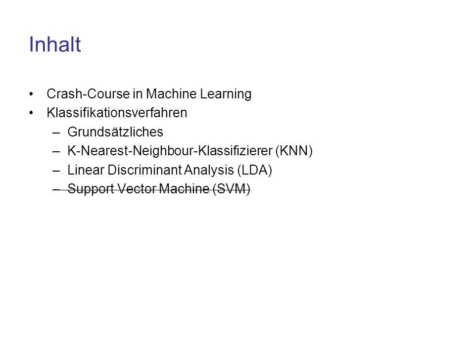 Inhalt Crash-Course in Machine Learning Klassifikationsverfahren