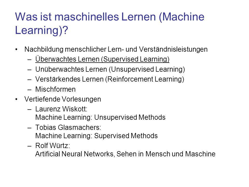 Was ist maschinelles Lernen (Machine Learning)