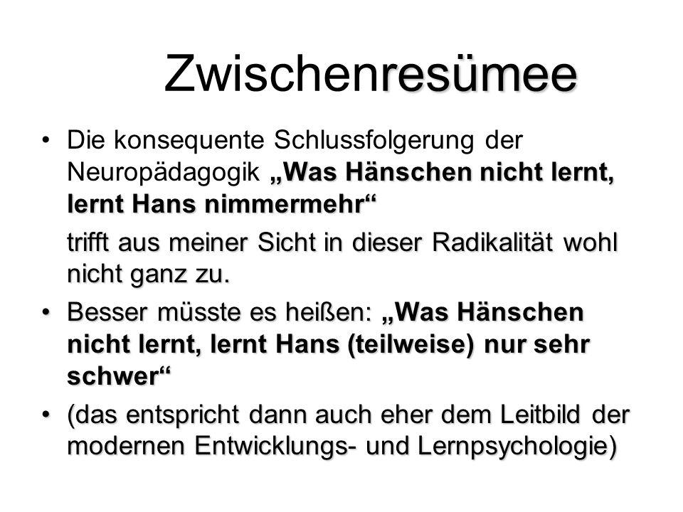 """Zwischenresümee Die konsequente Schlussfolgerung der Neuropädagogik """"Was Hänschen nicht lernt, lernt Hans nimmermehr"""